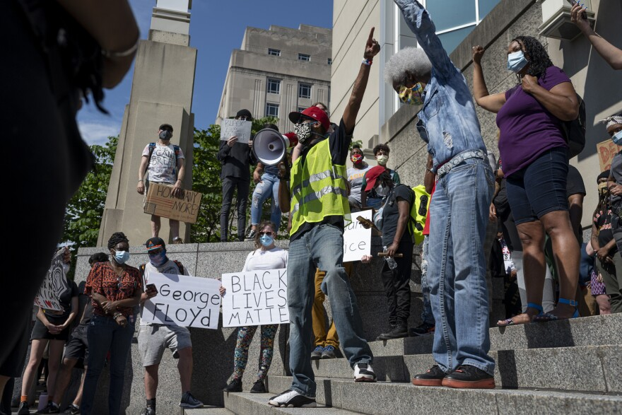 Protestors gathered Monday, June 1, at the St. Louis Justic Center for a protest for social justice, ignited by the recent killing of George Floyd.