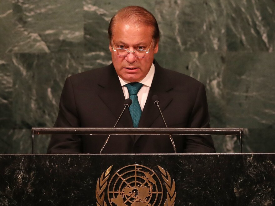 """The government of Prime Minister Nawaz Sharif, shown here addressing the U.N. General Assembly last month, says a newspaper story that civilian officials warned the military of global isolation due to support of militant groups was """"fabricated."""""""
