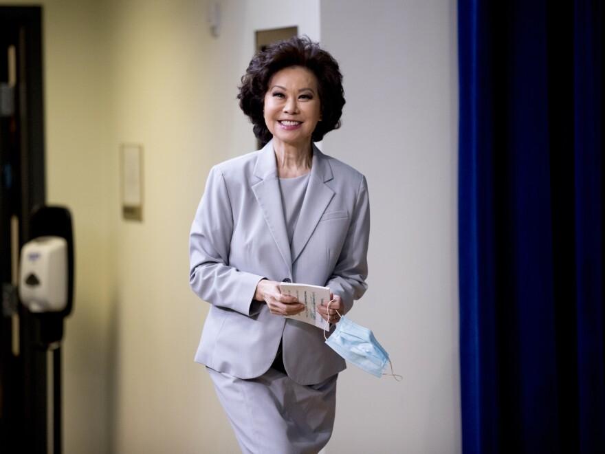 Transportation Secretary Elaine Chao arrives at a naturalization ceremony for 16 new Americans at the White House in July.