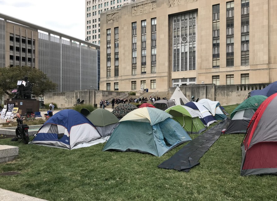 The number of protesters and tents at the Kansas City Police Department increased throughout the day..jpg