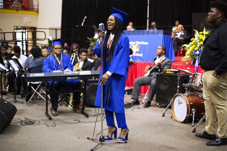 Ngone Seck sings with the Riverview Gardens High jazz band. May 2018