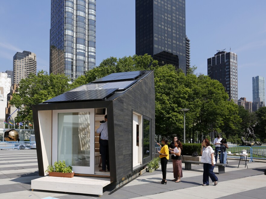 """An Ecological Living Module, a 22-square-meter """"tiny house"""", is seen at the United Nations headquarters in New York, July 16, 2018."""
