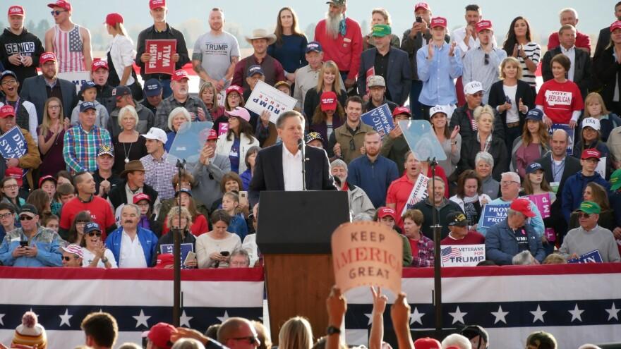 Sen. Steve Daines at President Trump's rally at Missoula International Airport. Oct. 18, 2018.