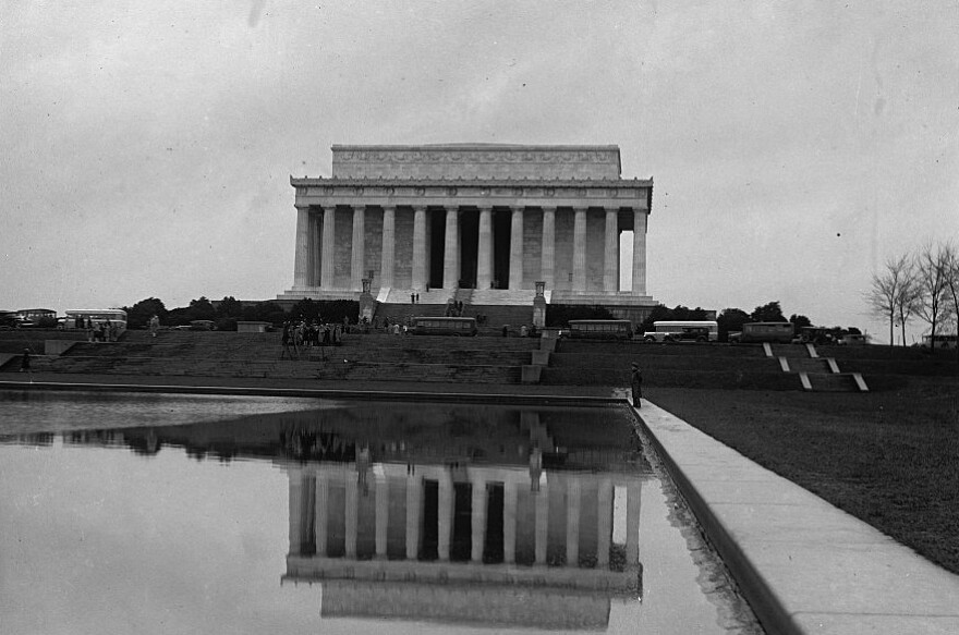 A glass negative by the National Photo Company showing the Lincoln Memorial circa 1929.
