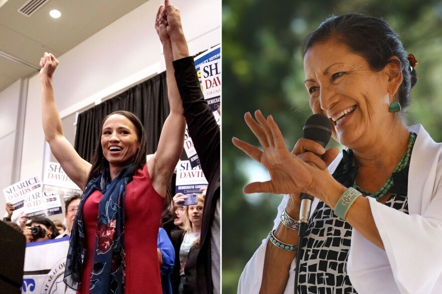 Sharice Davids of Kansas (left) and Debra Haaland of New Mexico, both Democrats, are the first Native American women elected to Congress.