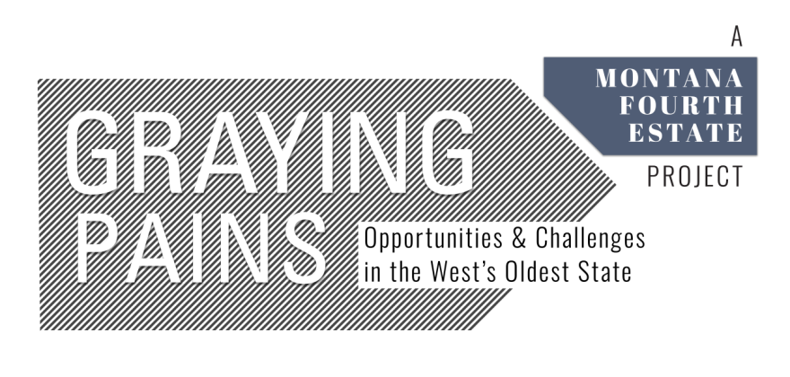 "A black and white logo that says ""Graying Pains, Opportunities and Challenges in the West's Oldest State."""