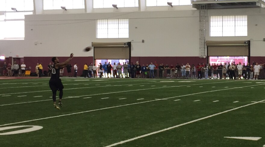Rashad Greene catching a pass from Jameis Winston at FSU's Pro Day.