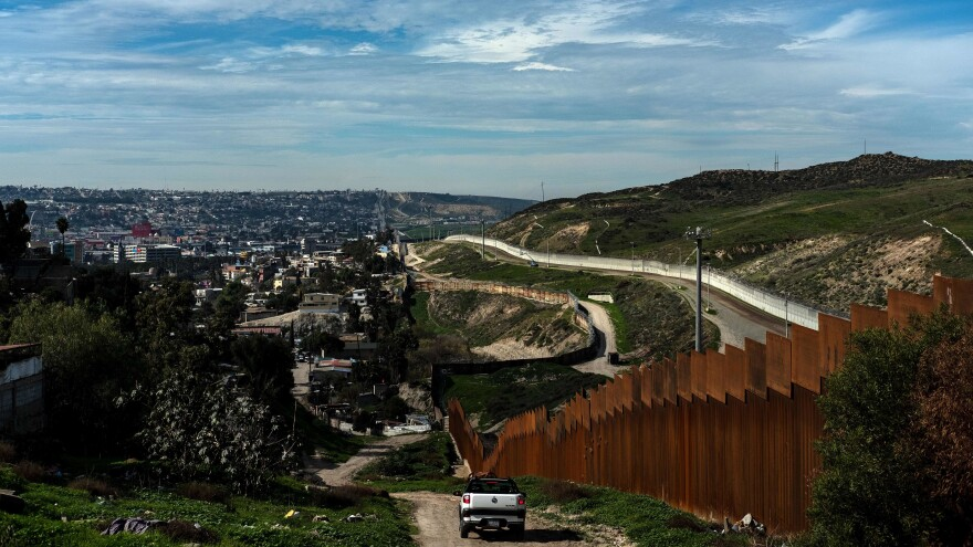 The U.S.-Mexico border fence in Tijuana, Baja California State, Mexico, is seen on Jan. 28. The White House said on Thursday that President Trump plans to sign an emergency declaration to get additional funds for a border wall.