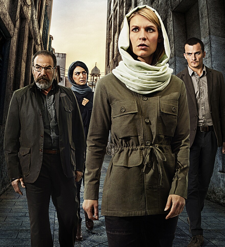 Claire Danes, front, with, from left, Mandy Patinkin, Nazanin Boniadi and Rupert Friend on Showtime's <em>Homeland</em>.