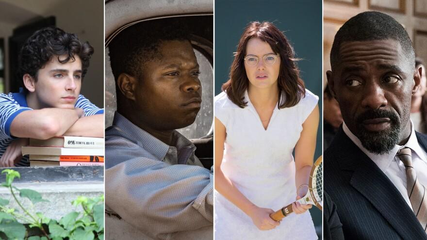 (From left) Timothée Chalamet in <em>Call Me by Your Name</em>; Jason Mitchell in <em>Mudbound</em>; Emma Stone in <em>Battle of the Sexes</em>; and Idris Elba in <em>Molly's Game.</em>