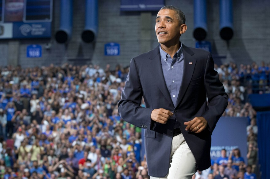 President Obama takes the stage at the University at Buffalo on Thursday.
