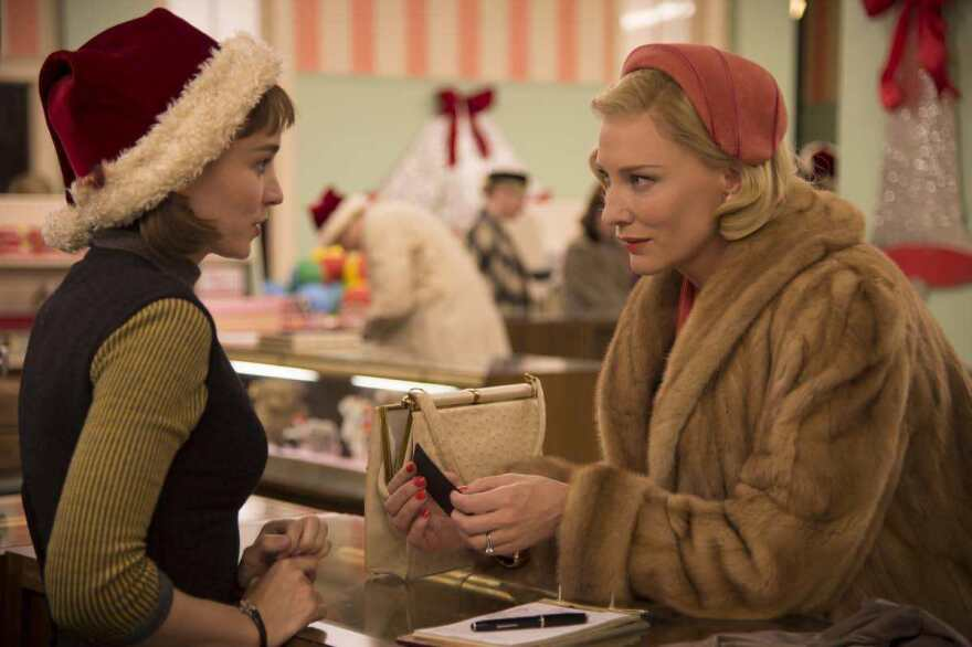 """Cate Blanchett's blonde mink coat in <em>Carol </em>was actually made of bits of many coats. """"There's something about rich people wearing light colors that denotes luxury and sophistication,"""" says British costumer Sandy Powell."""