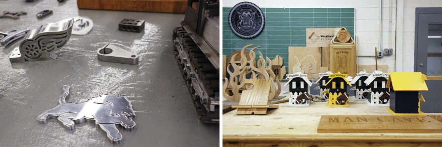 Objects and tools along with wooden birdhouses, signs, a wine rack and other decorative pieces sit on display inside the woodworking and carpentry shop as part of the Vocational Village.