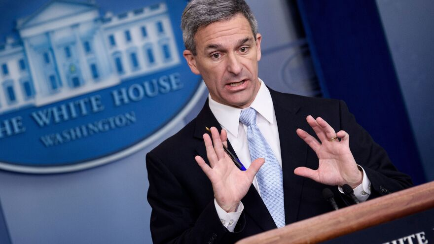 Ken Cuccinelli, the acting director of U.S. Citizenship and Immigration Services, speaks during a briefing at the White House on Monday. Trump administration officials announced new rules that aim to deny permanent residency to migrants who may need to use food stamps, Medicaid and other public benefits.