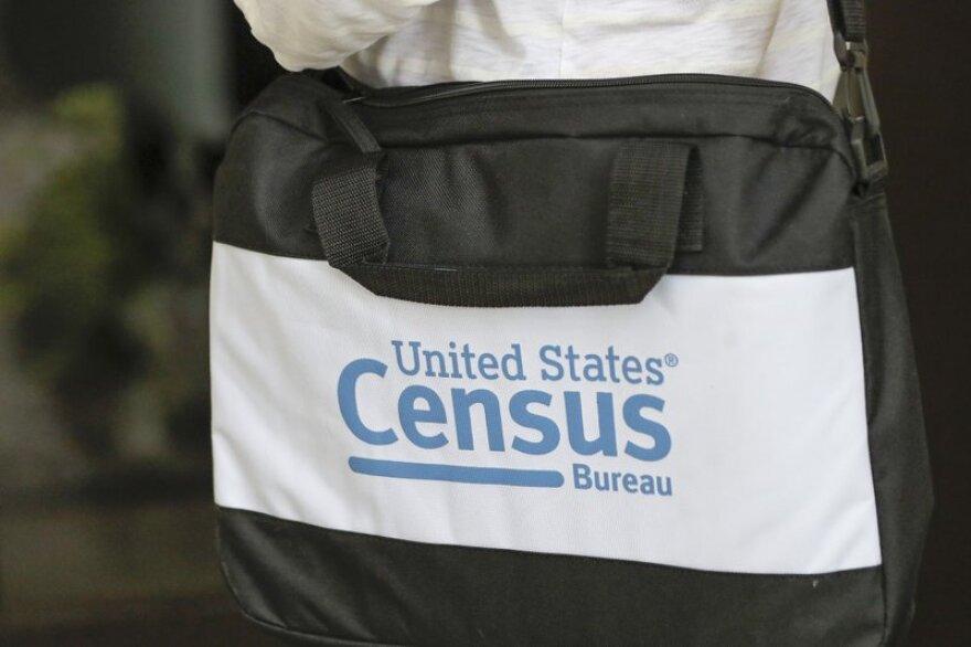 U.S. Census logo on a briefcase