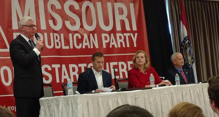 Peter Kinder talks while, from left, Eric Greitens, Catherine Hanaway and John Brunner listen at the Republican gubernatorial forum at this weekend's Lincoln. Days.