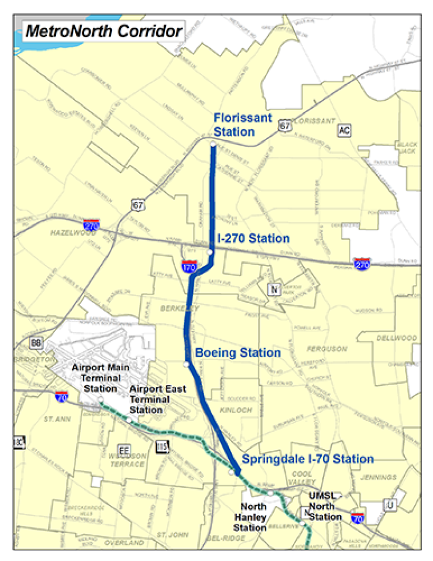 St. Louis County's northern light rail option.