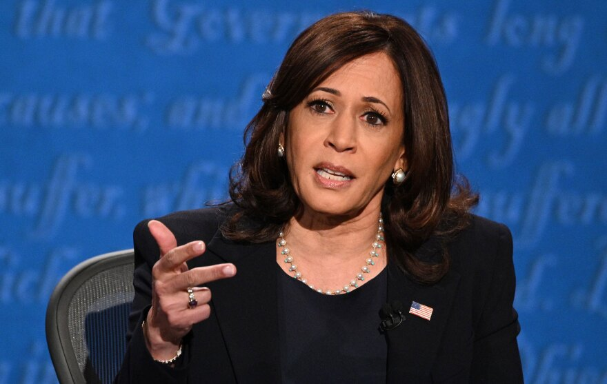 Sen. Kamala Harris, D-Calif., speaks during Wednesday's debate with Vice President Mike Pence.