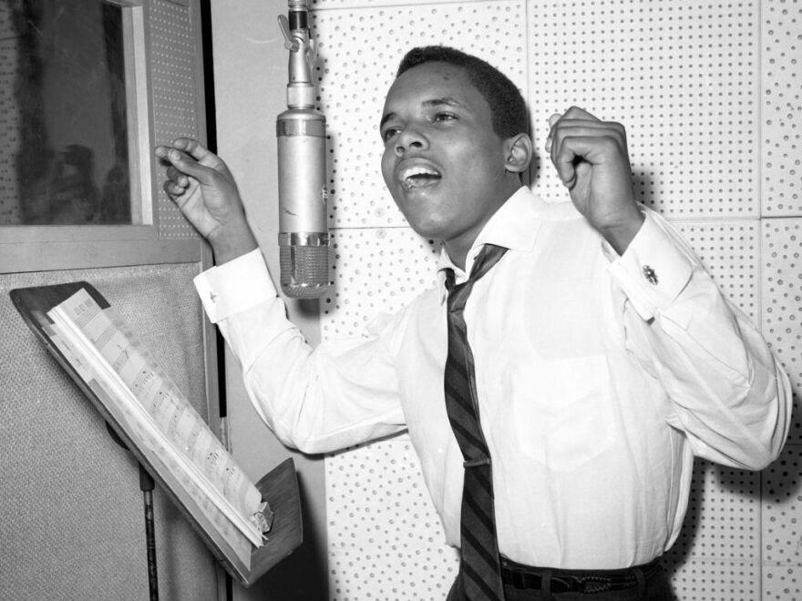 Singer Johnny Nash records in a New York City studio, circa 1958.
