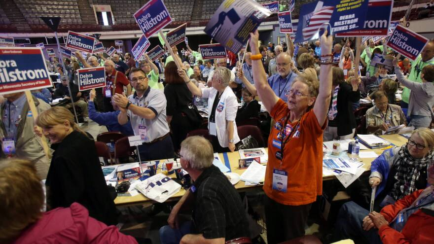 Delegates at the Minnesota Democratic-Farmer-Labor Party's 2014 convention. The party says its budget has dropped sharply since 2002.