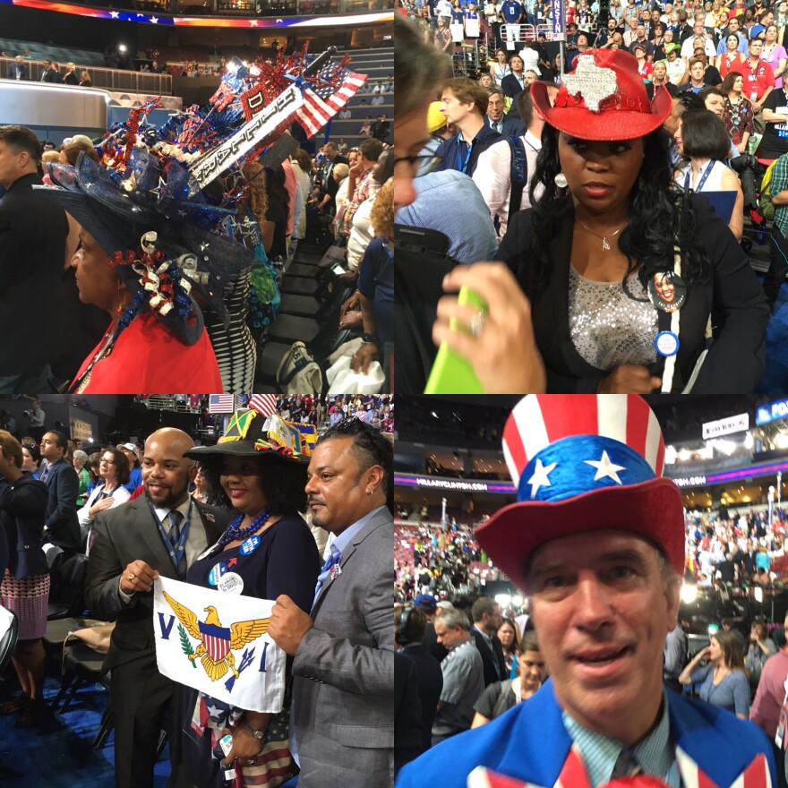 Delegates at the Democratic National Convention sported some very elaborate hats.