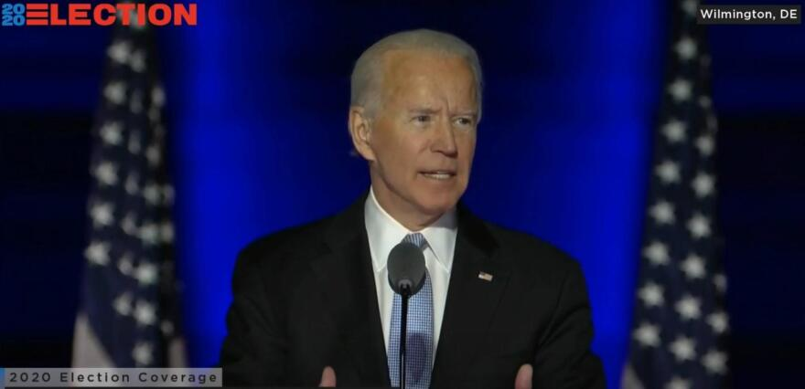 A screen capture from Joe Biden's victory speech November 07, 2020, after several news organizations called the presidential race for Biden.