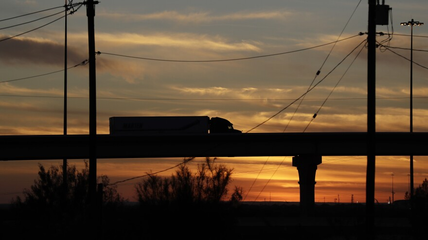 A truck travels on an overpass toward the World Trade Bridge, in Laredo, Texas.