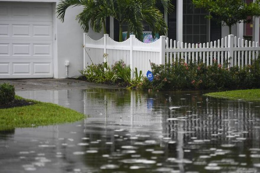 Water from heavy rain in August floods a driveway on Snell Isle Boulevard NE in St. Petersburg.