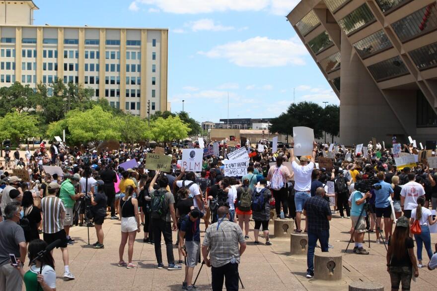 Protestors at City Hall
