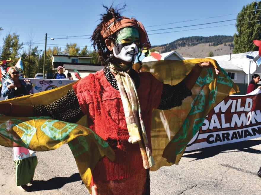 Caravan supporter Shahir Qrishnaswamy, originally from Malawi, takes part in the Wild Salmon Caravan Parade in Chase, British Columbia.