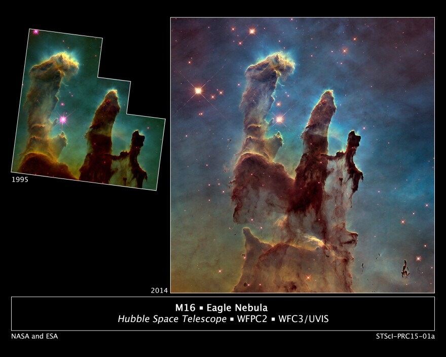 "Astronomers using NASA's Hubble Space Telescope have assembled a bigger and sharper photograph of the iconic Eagle Nebula's ""Pillars of Creation"" (right); the original 1995 Hubble image is shown at left."