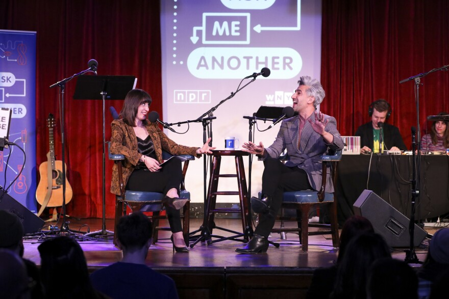 <em>Ask Me Another </em>host Ophira Eisenberg interviews Tan France at the Bell House in Brooklyn, New York.