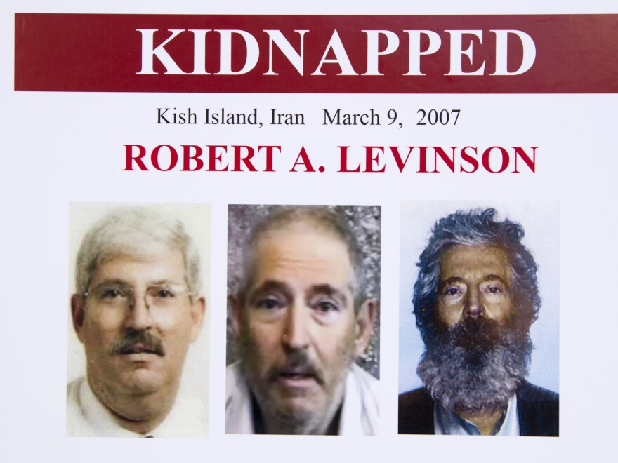 An FBI poster showing a composite image of former FBI agent Robert Levinson.