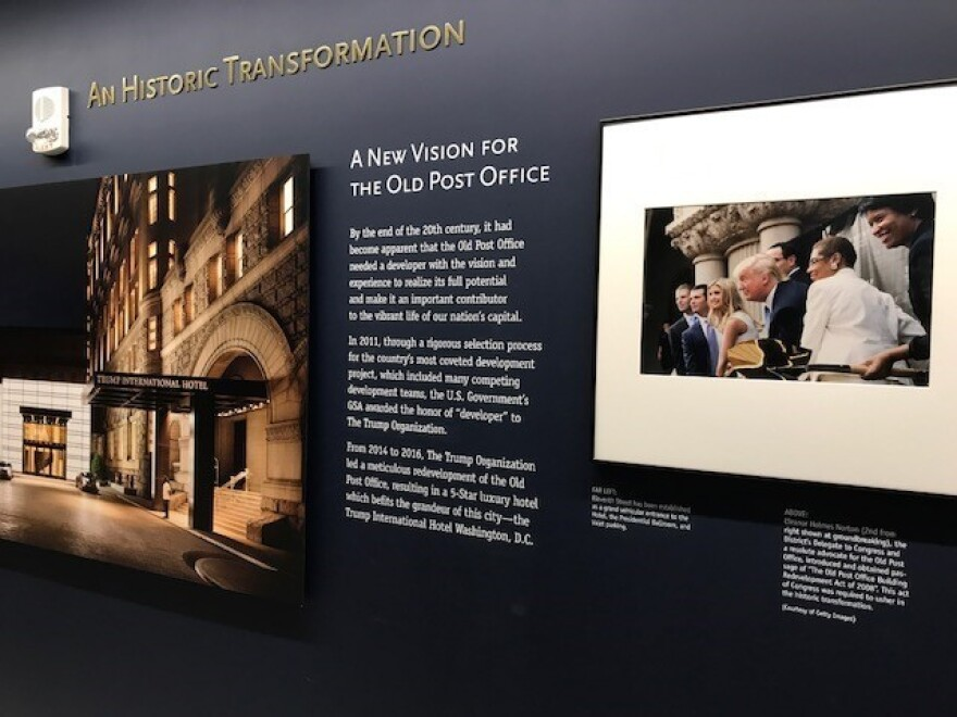 A photo in the exhibition section of the clock tower of Washington, D.C.'s Old Post Office, which also houses the Trump International Hotel.