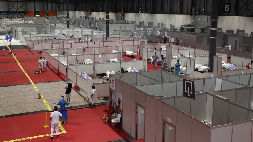 A temporary field hospital set up at IFEMA Convention Center in Madrid, Spain, on Thursday. Spain is one of the countries hit hardest by the coronavirus pandemic.