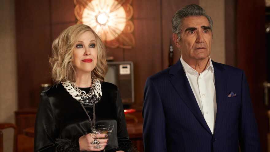 Moira Rose (Catherine O'Hara) and Johnny Rose (Eugene Levy) in <em>Schitt's Creek </em>on Netflix
