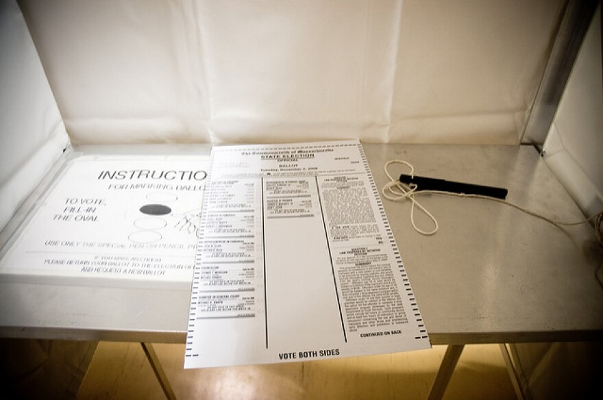 A ballot in a voting booth.