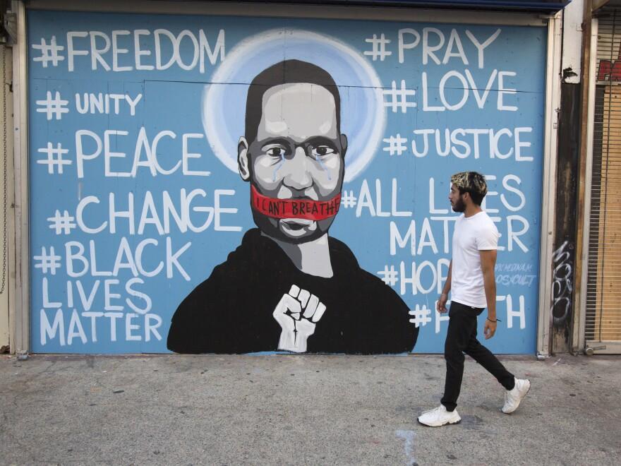 A mural in Los Angeles depicts George Floyd.