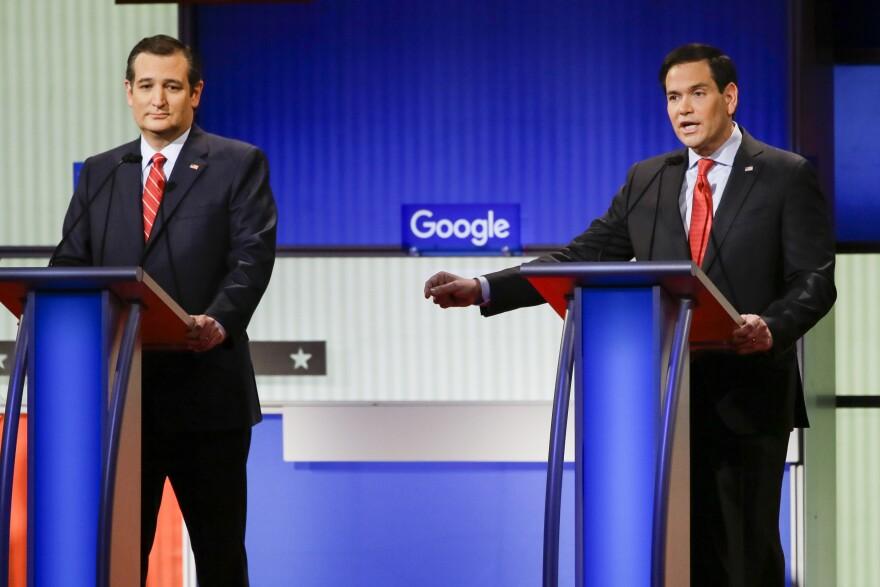 Sen. Marco Rubio and Sen. Ted Cruz participate in a Republican presidential primary debate in Des Moines, Iowa, in January.