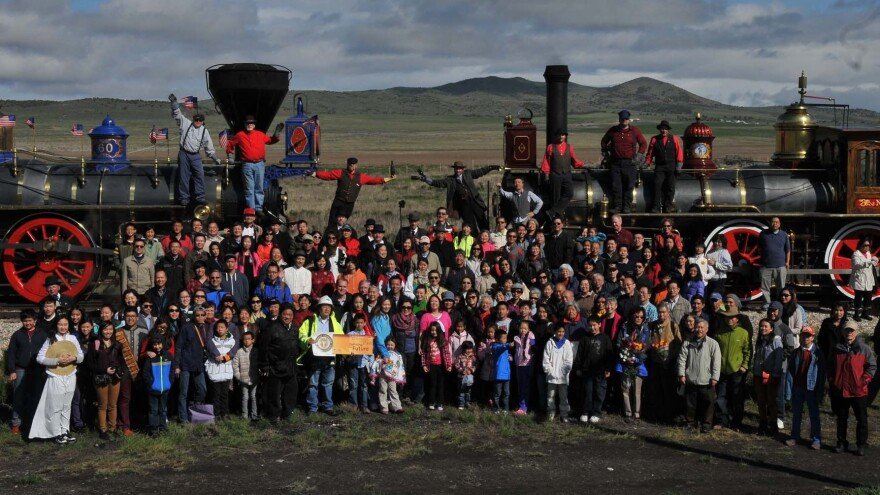 A group of Asian-Americans, including descendants of Chinese railroad workers, recreated an iconic photo on the 145th anniversary of the first transcontinental railroad's completion at Promontory Summit, Utah.