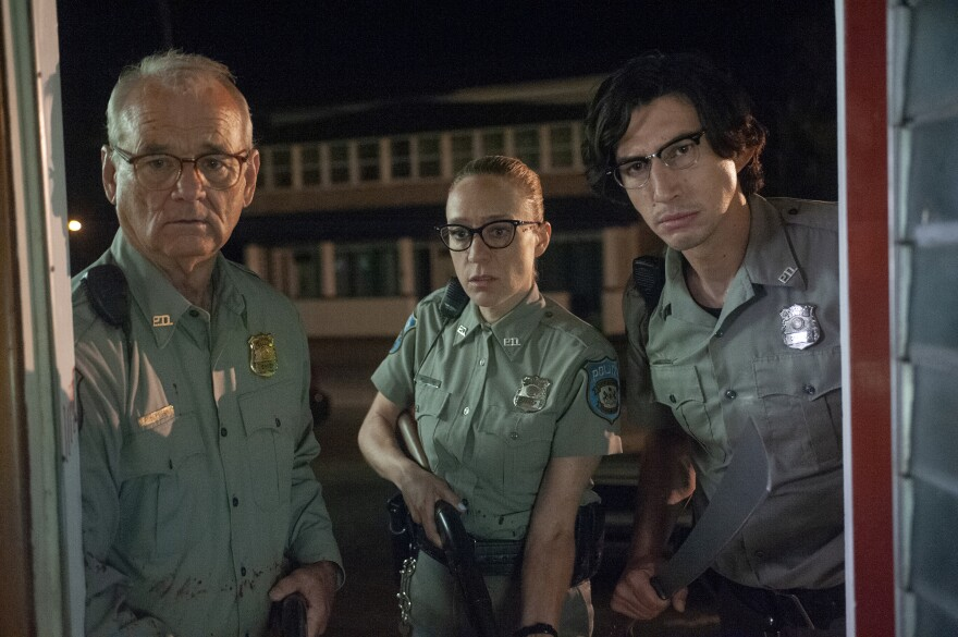 Bill Murray (left) as Officer Cliff Robertson, Chloë Sevigny as Officer Minerva Morrison and Adam Driver as Officer Ronald Peterson in writer-director Jim Jarmusch's <em>The Dead Don't Die</em>.