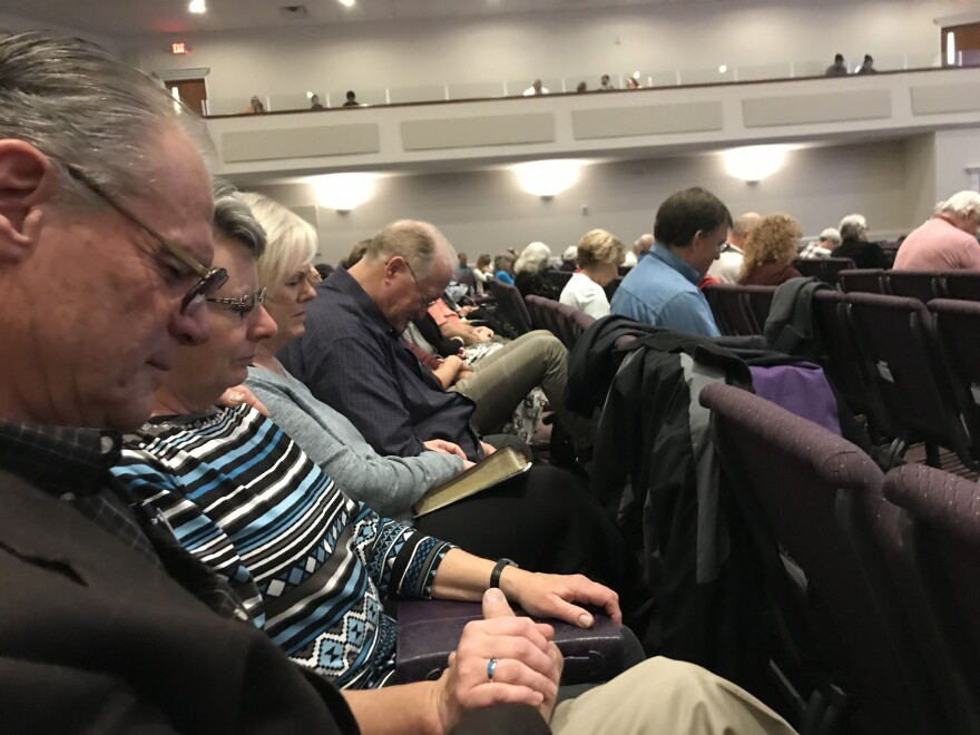 Dan Wentland, Sherry Wentland, Gwynn Harris, and Randy Harris (left to right) attend services at the Lantana Road Baptist Church on March 8, 2020. The couples have known each other since the 1970s and lived in Paradise, Calif., until the 2018 Camp Fire destroyed their town.