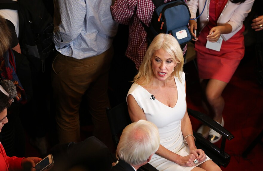 Donald Trump Campaign Manager Kellyanne Conway is interviewed after the presidential debate at Washington University on Oct. 10, 2016.