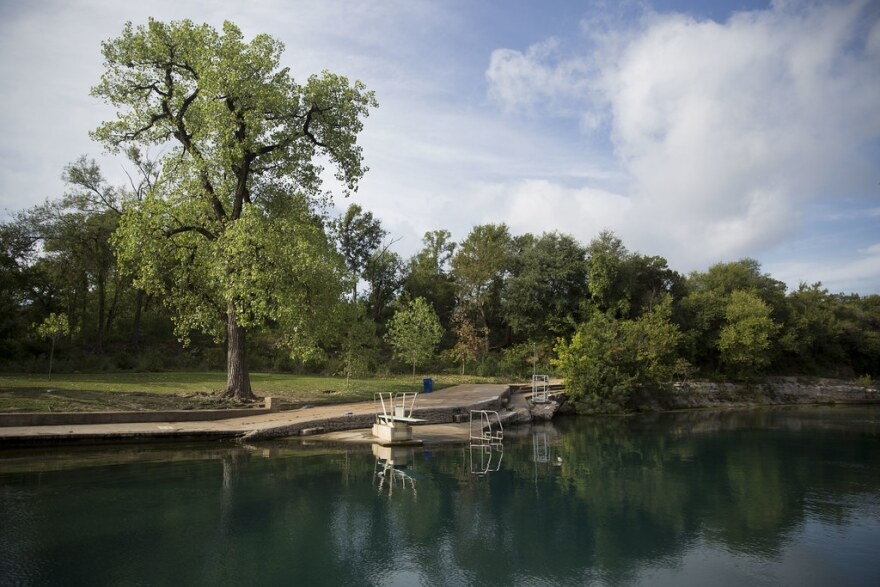 An empty Barton Springs Pool during a cleaning in August 2017.