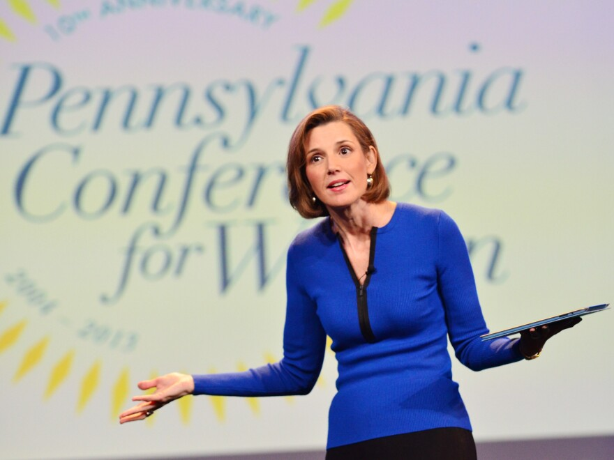 """Sallie Krawcheck speaks onstage at the Pennsylvania Conference for Women last year. She says when it comes to negotiating salary, """"men ask and women don't."""""""
