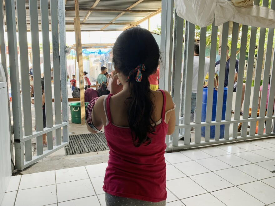 A young girl at a migrant shelter in Nuevo Laredo.