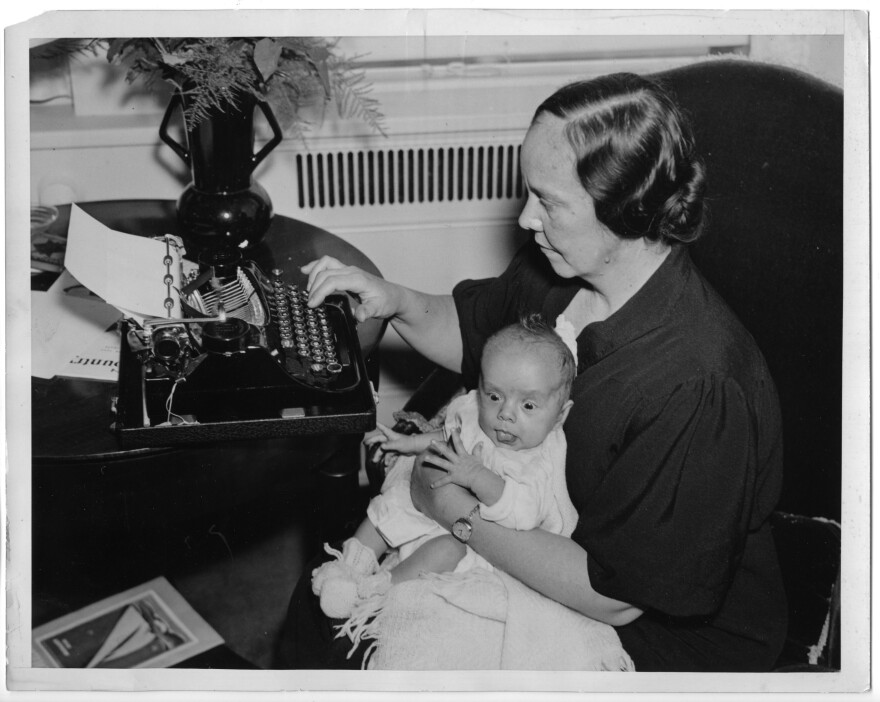 Susan Frawley Eisele holds her 6-week-old son, Albert Jr., at the Waldorf Astoria hotel in New York City in 1936. Eisele, of Blue Earth, Minn., won an essay contest with <em>Country Home</em> magazine and was named best American rural correspondent of 1936.