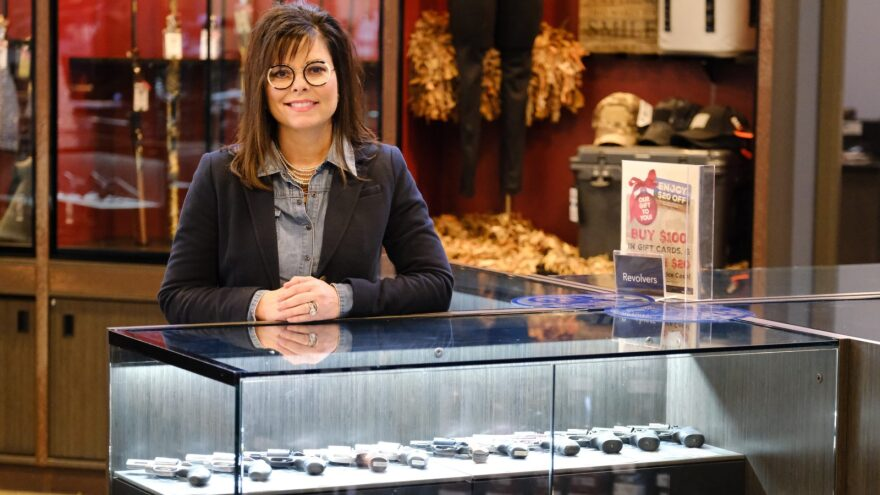Bren Brown and her husband Mike opened the first Frontier Justice in 2015. The gun store features an indoor range and women's fashion boutique.
