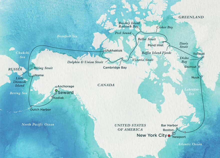 A map detailing the Northwest Passage route where the Crystal Serenity cruise ship will travel between Alaska and New York City.