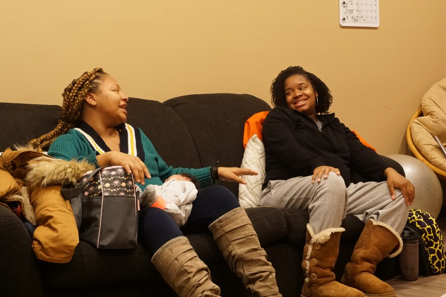 Ameila White (left) and Jasmine George attend Jamaa Birth Village's mom support group in March. March 4, 2019.